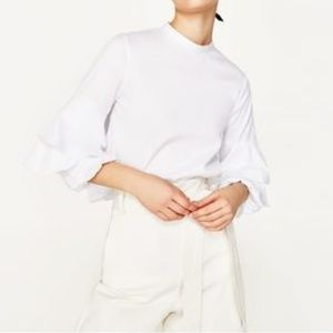 New! Zara Basic Collection Frill Sleeve Top